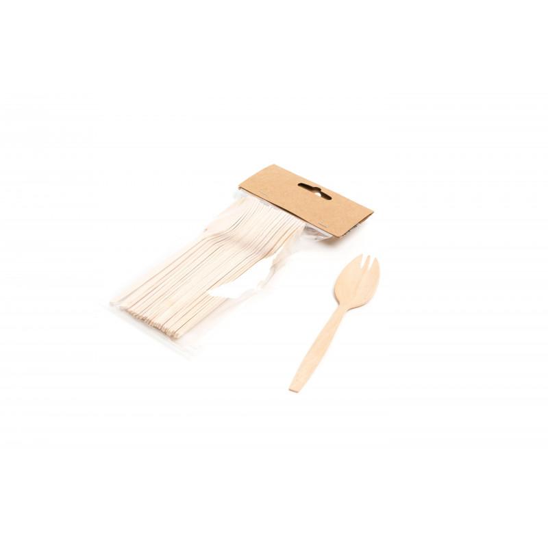 Pack 24 cucchiaio antipasti legno 14 cm