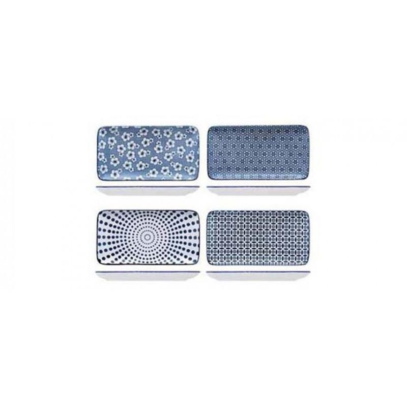 4 Vassoi Hanami blu, vari decori
