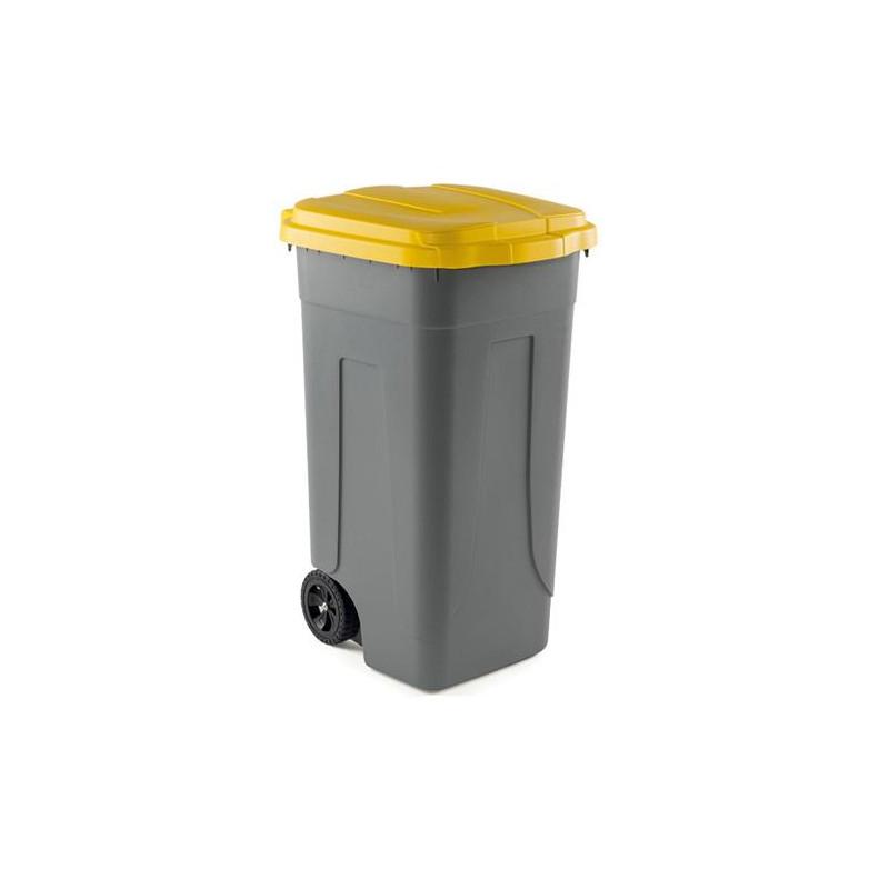 Bidone portarifiuti 100 Lt con coperchio giallo