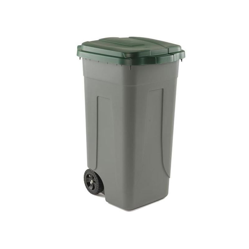 Bidone portarifiuti 100 Lt con coperchio verde